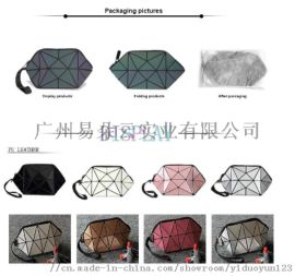 现货拼接几何图案PVC半圆化妆包欧美菱片收纳化妆包