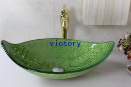 手绘艺术叶子钢化玻璃洗手盆 洗漱盆 手绘盆 艺术盆 台上盆 N-132