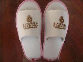 粉红边条毛巾布拖鞋