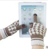 女格子三指羊毛电容屏iphone触控手套厂家直销,触摸屏手套批发