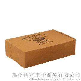 厂家定制长方形牛皮纸礼品盒包装外卖食品翻盖盒环保快餐打包盒子定做