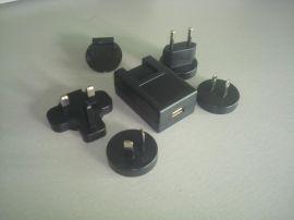 6W转换头式电源适配器过UL FCC PSE CCC KC GS CE认证USB接口