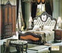 921欧式大床床头柜床尾凳化妆台五斗柜衣柜书柜书台书凳双人床木床