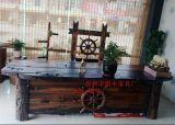 老船木老闆桌辦公桌抽屜大班桌寫字檯電腦桌簡約書桌椅