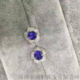 絢彩珠寶18K金伴鑽圓形坦桑石耳釘 主石2.06克拉(一對) 微信xczb168