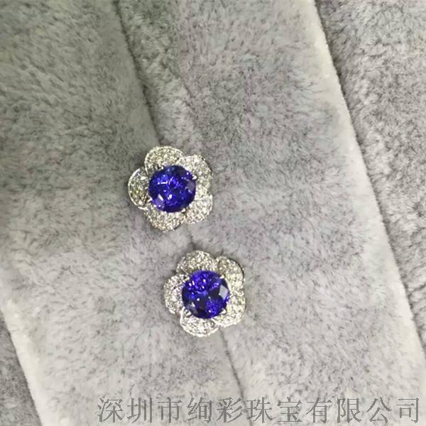 绚彩珠宝18K金伴钻圆形坦桑石耳钉 主石2.06克拉(一对) 微信xczb168