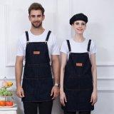 時尚男女工作服全棉牛仔掛脖圍裙西餐廳  員咖啡店定製刺繡logo