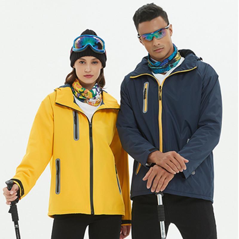 冲锋衣定制logo男工作服印字电信移动超市员工户外秋冬装黄色外套