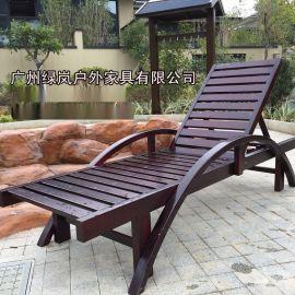 广州户外家具SM01实木沙滩椅泳池躺椅