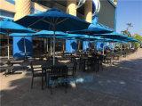 戶外帶傘桌椅組合咖啡廳室外鐵藝遮太陽傘桌椅五件套