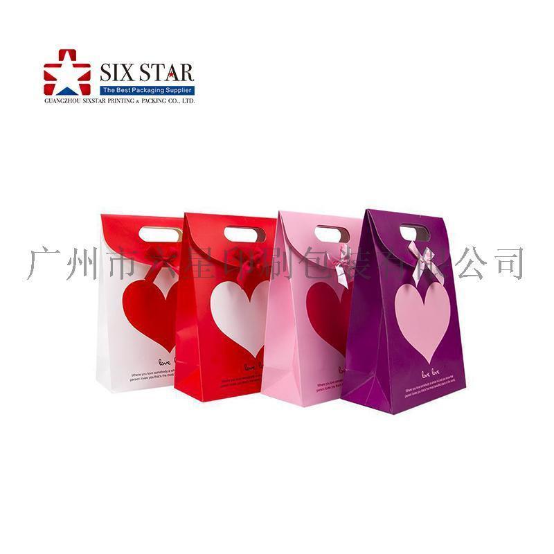 廣州包裝印刷廠禮品紙袋定做蝴蝶結翻蓋紙袋