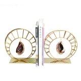 金色金属圆形不锈钢桌面立书档北欧复古创意装饰品书立书靠摆件