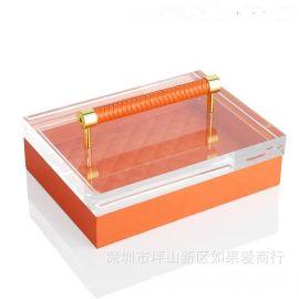 橙色长方形超纤皮-亚克力-合金首饰盒饰品欧式创意客厅卧室摆件
