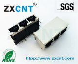 ZXCNT品牌RJ45屏蔽1X3卧式无灯网络插座,RJ45连接器