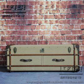 Richard旅行者欧式复古双抽床头柜LOFT工业帆布木条铆钉收纳边柜