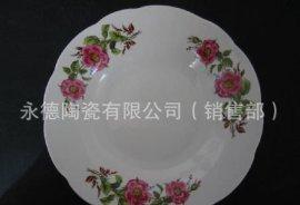 白瓷烤花汤盘