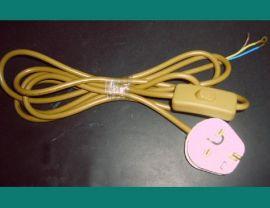 英式插头带303按钮开关电源线(黄色)