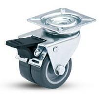 双菱脚轮3吋万向导平双刹双轮塑芯TPR轮