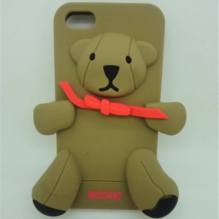 iPhone5s蘋果4S泰迪熊水晶熊矽膠保護套moschino小熊手機殼抱抱熊