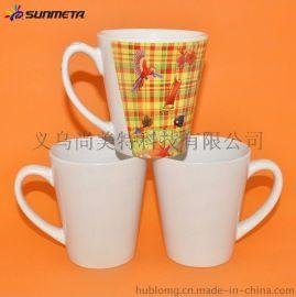 淘宝热卖爆款陶瓷热转印杯 广告小锥形白杯马克杯 厂家批发