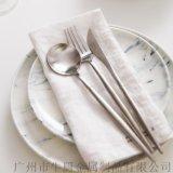 不鏽鋼西餐刀叉勺三件套 歐式高檔復古西餐食具套裝 鍍金刀叉