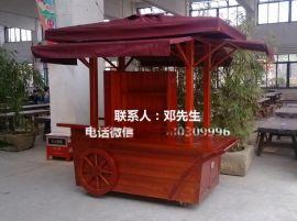 小型移动售货车,景区实木售卖车,商场手推车