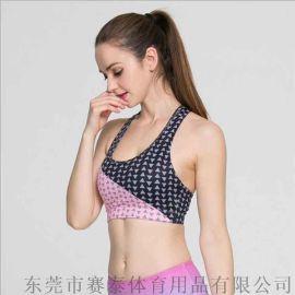 厂家订制专业欧美印花运动文胸,速干防震运动内衣