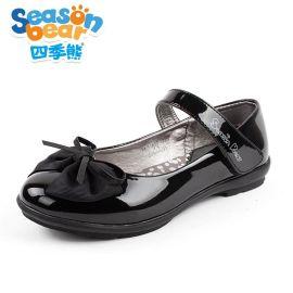 四季熊黑色**公主鞋皮鞋韩版儿童亮面漆皮单鞋学生表演出鞋子