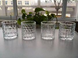 高品质机压玻璃燭台,果冻蜡玻璃杯透明蜡海星果冻蠟燭杯
