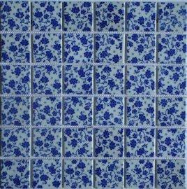 陶瓷青花瓷马赛克 青花瓷砖 游泳池马赛克 室内外墙砖