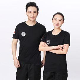 夏季保安T恤短袖套装男黑色制服作训服t恤衣服工作服可定制LOGO