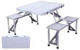 河南龙翔加强铝合金折叠桌连体折叠桌椅户外折叠桌椅手提箱式促销桌野餐桌