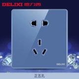 德力西玻璃大板藍色鏡面86型五孔二三插牆壁開關