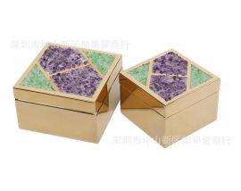 不锈钢金色正方形小碎石紫水晶玻璃首饰收纳盒样板间软装摆件欧式