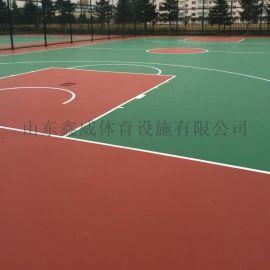 篮球场施工 篮球场地面施工 篮球场地胶