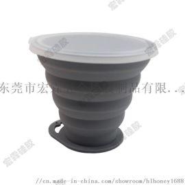 厂家直销硅胶折叠咖啡杯纯色可定制颜色