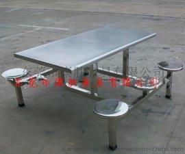 厂家批发单位/公司员工食堂餐桌椅-  食堂不锈钢连体餐桌椅
