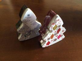 圣诞树马口铁罐,节日喜糖铁盒,婚庆糖果铁盒