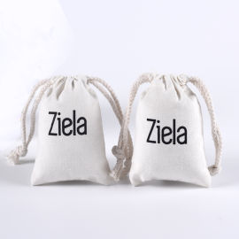 白色帆布袋束口袋抽绳袋定制logo化妆品袋收纳袋
