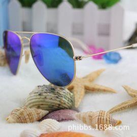 3026经典反光彩膜太阳镜 复古炫彩太阳眼镜潮人驾驶眼镜墨镜3025