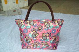 厂家直销时尚休闲印花手提袋 ,耐用便携拉链牛津布,饭盒保温收纳袋