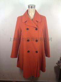 2015 秋冬新款橙色双面羊绒羊毛大衣女批发加工