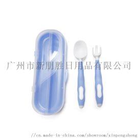 厂家定制**弯曲辅食叉勺  婴幼儿吃饭训练叉勺