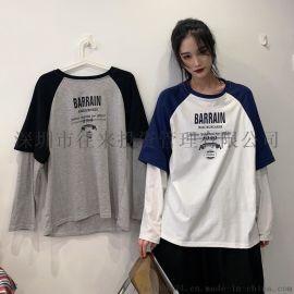 原宿港风网红上衣女装韩版酷潮宽松百搭假两件长袖T恤