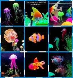 夜光仿真动物鱼缸仿真鱼装饰品摆件硅胶假鱼厂家直销