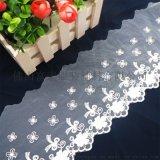 工厂直销白色菊花图案刺绣花边蕾丝花边现货
