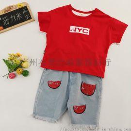 温州努努猪夏季个性 童装代理货源 人气童套装