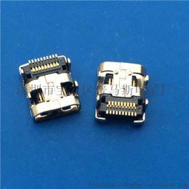 MICRO HDMI 板上型母座19P 四角插板DIP+SMT 贴片式 镀金 黑胶