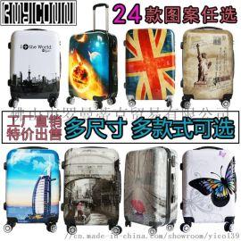 厂家学生旅行拉链图案拉杆万向轮登机行李箱