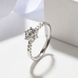 S925純銀一克拉莫桑石女戒指